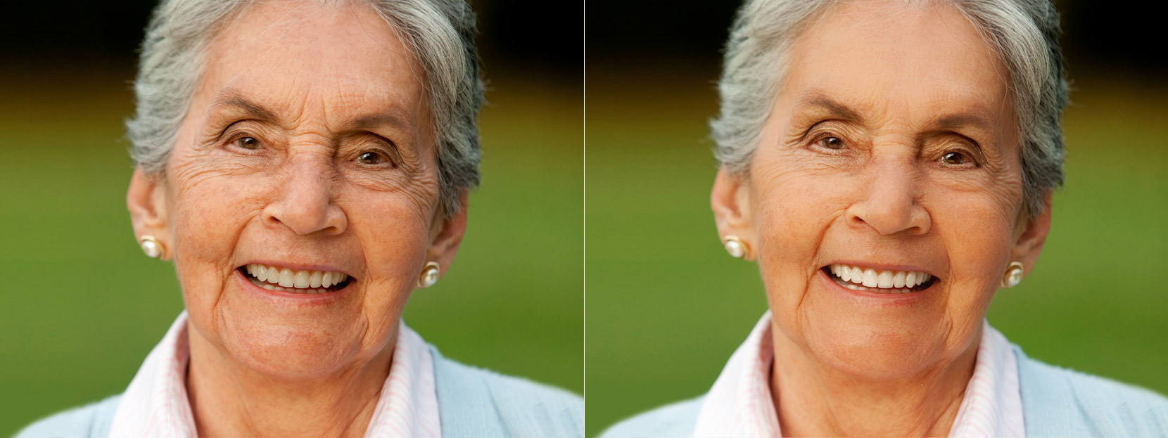 Portrait photo before and after face retouch on Makeup.Pho.to